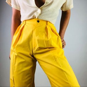 [Vintage]  | Yellow High Rise Pleat Front Pant